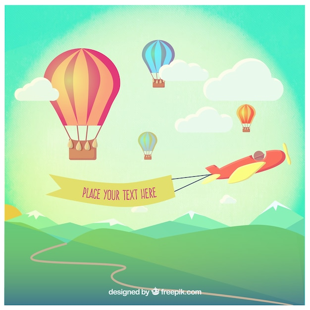 Hot air balloons and an airplane with a\ banner