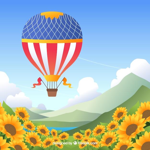 Фон с воздушными шарами в небе с облаками Premium векторы