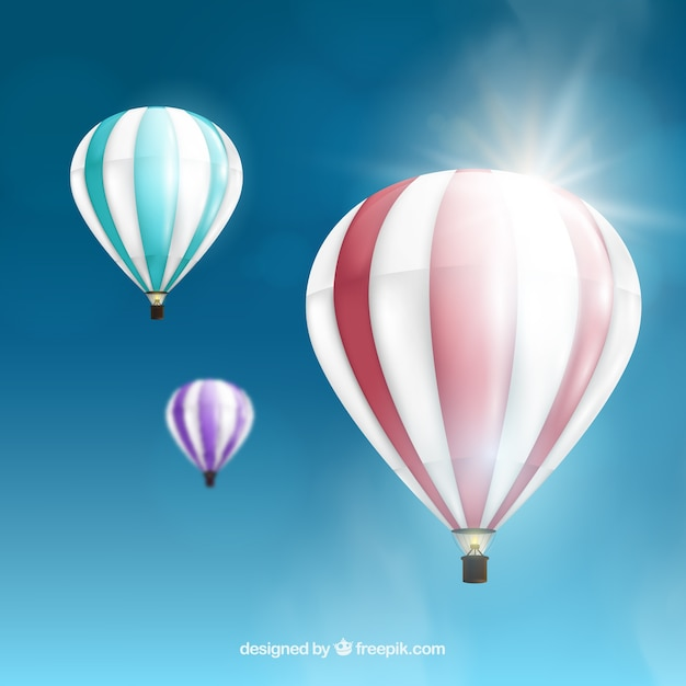 Hot air balloons background in realistic style Vector ...