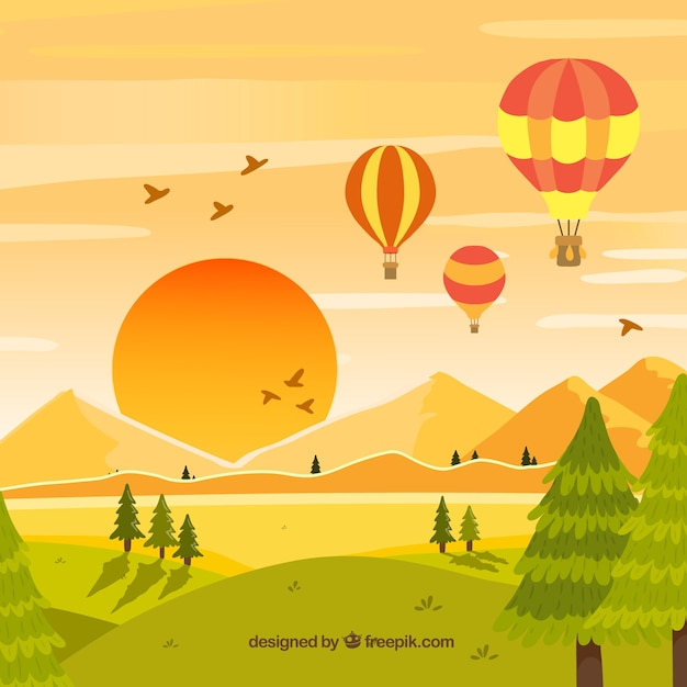 Hot air balloons background with sky in hand drawn style Free Vector