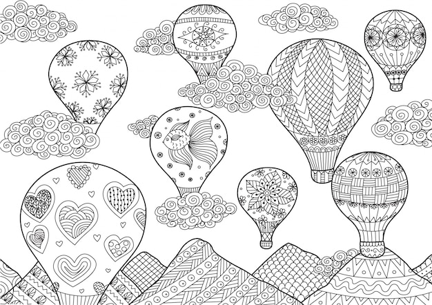 Hot air balloons background vector premium download for Zentangle per bambini