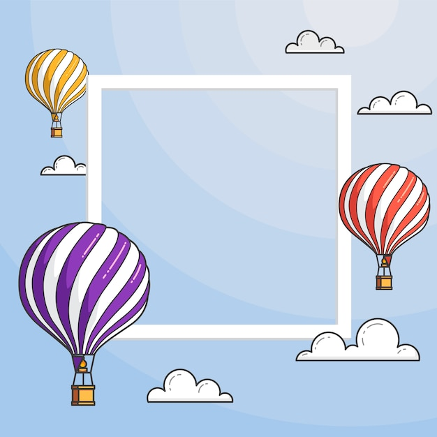 Hot air balloons in blue sky with clouds, frame, copyspace. flat line art vector illustration.abstract skyline.concept for travel agency, motivation, business development, greeting card, banner, flyer Premium Vector