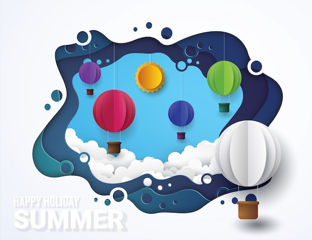Hot air balloons and  cloud. paper cut style. Premium Vector