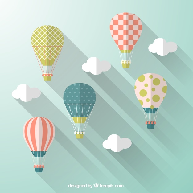 Design Style hot air balloons in flat design style vector | free download