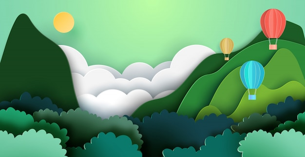 Hot air balloons on mountains and forest nature landscape background. Premium Vector
