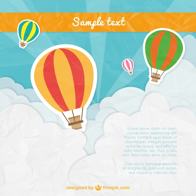 Hot air balloons template Vector Free Download
