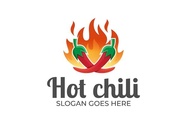 Огонь горячего чили, гриль, острая еда для логотипа ресторана горячей еды Premium векторы