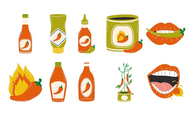 Острый перец чили соусы символ коллекции дизайн острых овощей и пищи тема векторные иллюстрации Premium векторы