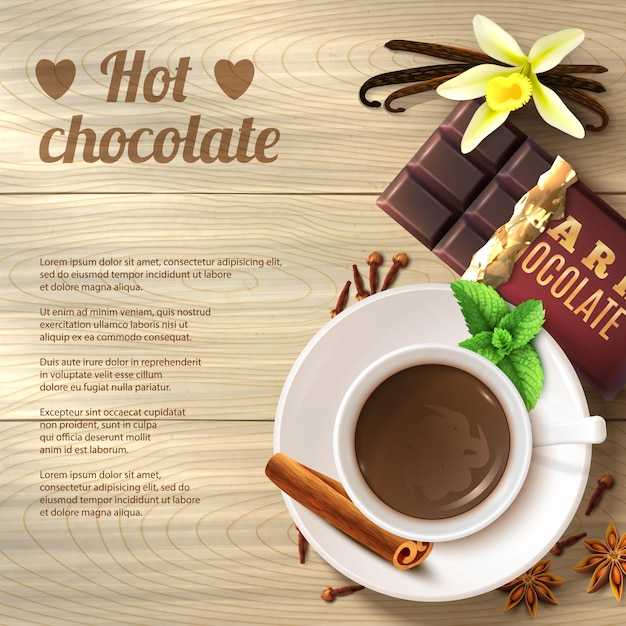 Hot chocolate background Free Vector