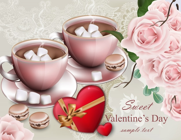 Hot Chocolate Cups Valentine Day Card. Delicate Composition Flower Bouquet  Vector Premium Vector