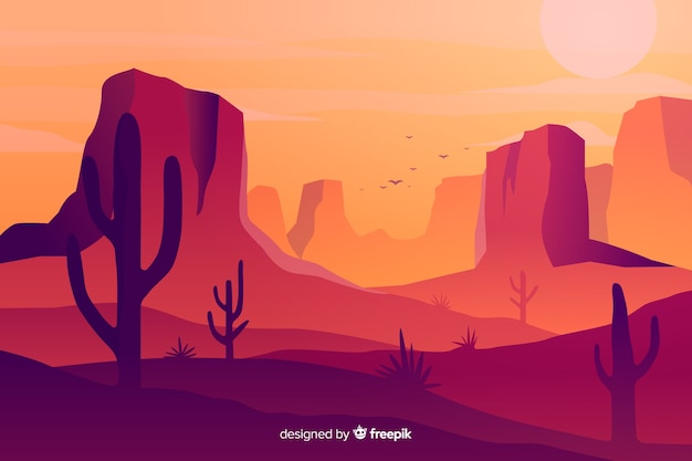 Hot desert landscape background with cacti Free Vector