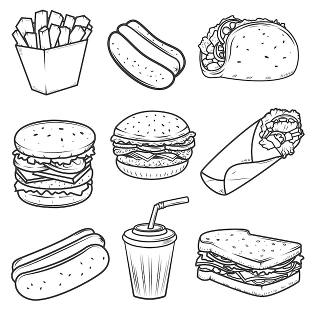 Hot dog, burger, taco, sandwich, burrito .set of fast food icons  on white background.  elements for logo, label, emblem, sign, brand mark. Premium Vector