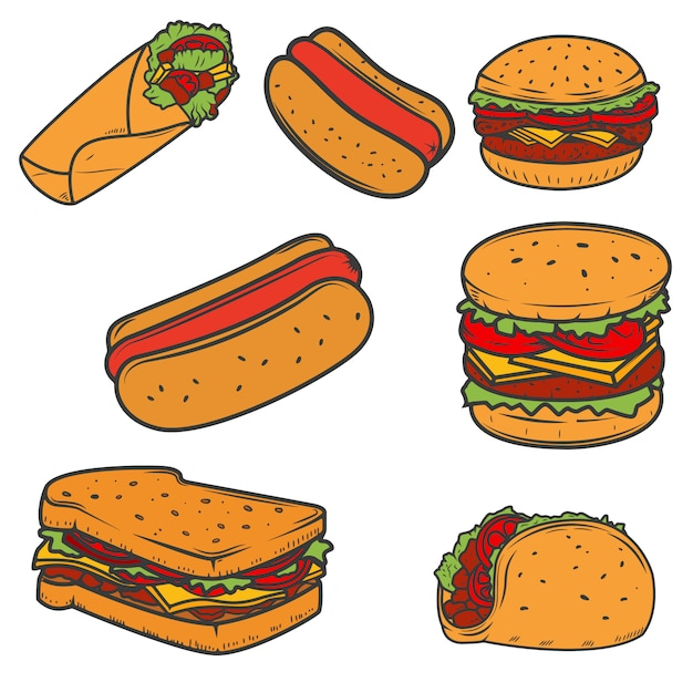 Hot dog, burger, taco, sandwich, burrito .set of fast food icons  on white background.  elements for logo, label, emblem, sign, brand mark. Premium Vector