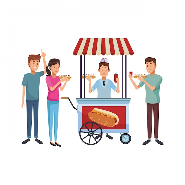 Hot Dog Cart Cartoon Vector Premium Download