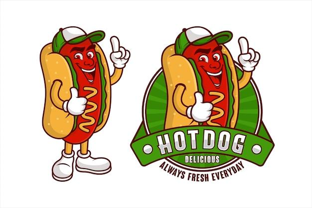 Hot dog delicious mascot cartoon design Premium Vector