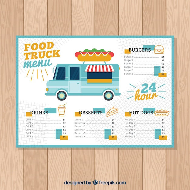 Hot dog food truck menu template