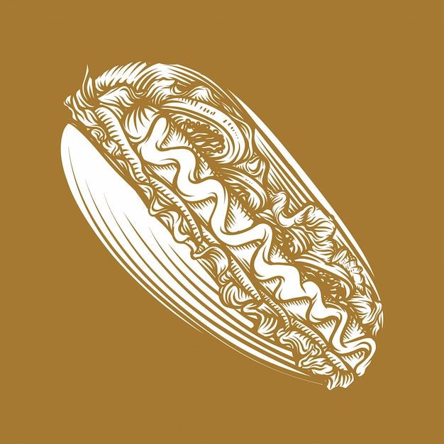 Hot dog hand drawn style illustration Premium Vector