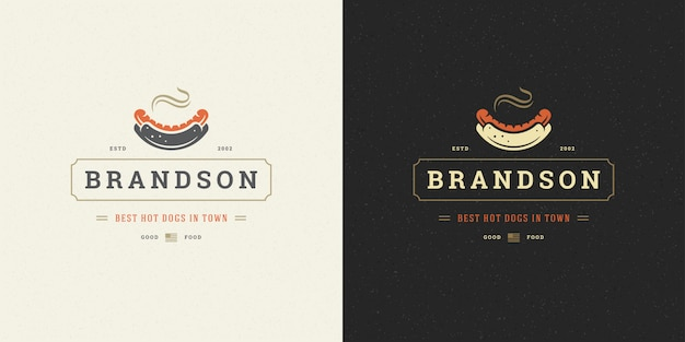 Hot dog logo  sausage silhouette good for restaurant menu and cafe badge Premium Vector