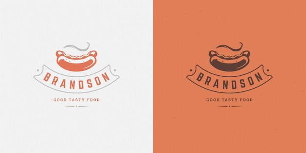 Hot dog logo   sausage silhouette good for restaurant menu and cafe badge Premium Vector