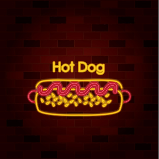 Hot dog on neon sign on brick wall Premium Vector