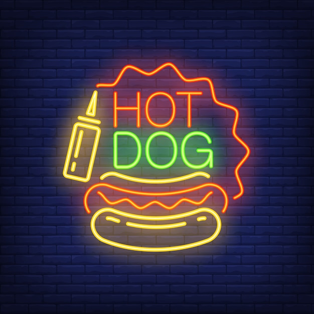 Hot dog neon sign. sausage loaf, mustard and star shaped frame on brick wall background. Free Vector