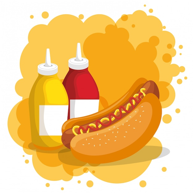 Hot dog and sauces bottles Free Vector