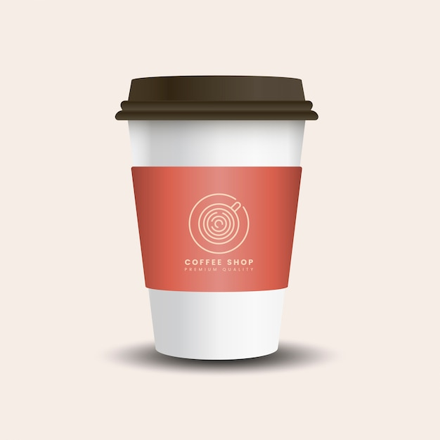 Hot drink paper cup with mockup sleeve vector Free Vector