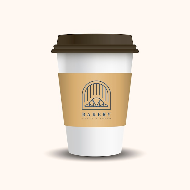Hot drink paper cup with mockup sleeve Free Vector