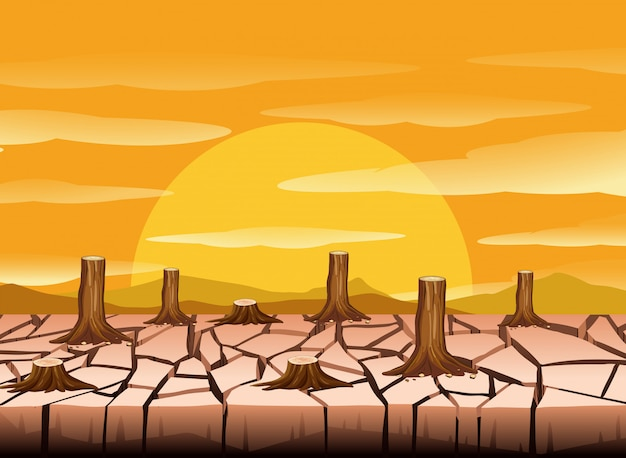 A hot dry land Premium Vector