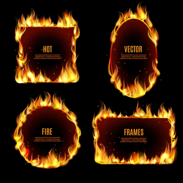 Hot fire flame frame on the black background Free Vector
