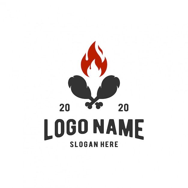 Hot fried chicken logo inspiration Premium Vector