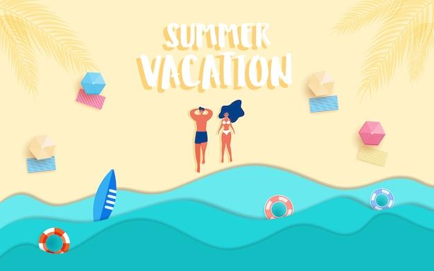 Hot girl and guy on the beach sunbathe in summer season. Premium Vector