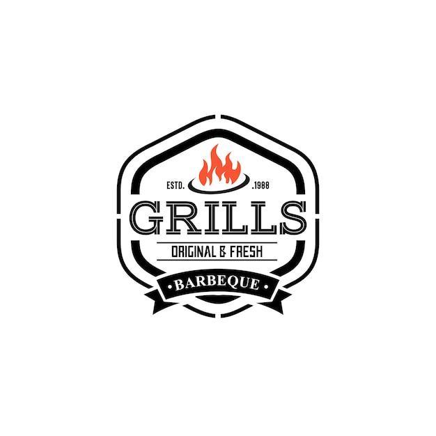 Hot grill logo templates Premium Vector