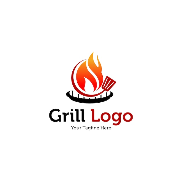 Hot grill logo templates Premium Vector