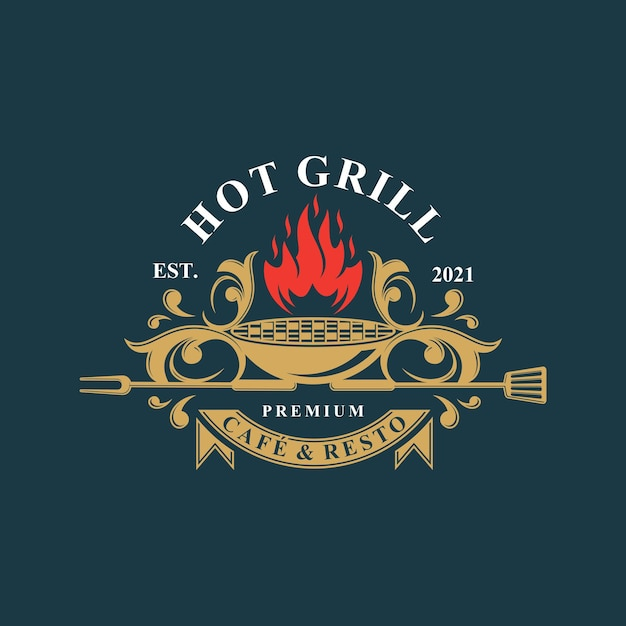 Hot grill logo Premium Vector