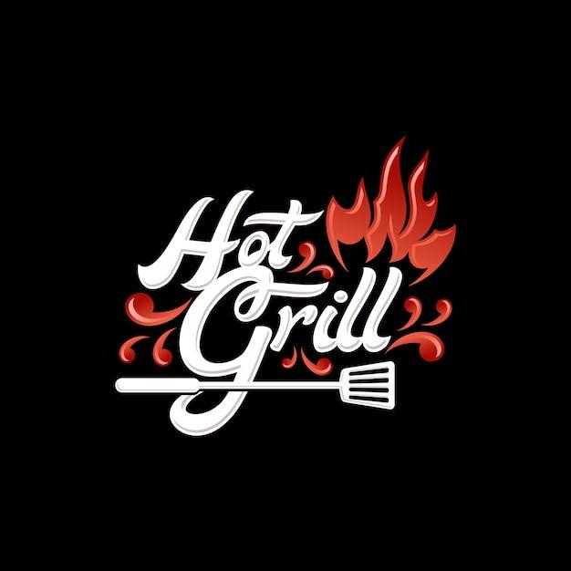 Hot grill logo Premium Vector