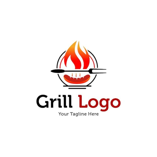 Шаблоны логотипов hot grill Premium векторы