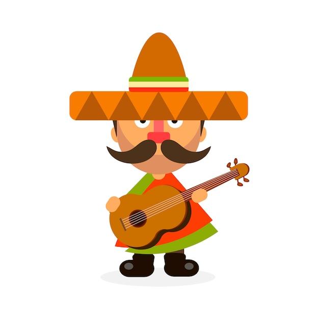 Hot mexican in sombrero Premium Vector