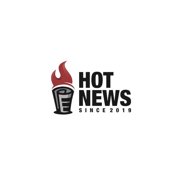 Hot news logotype Premium Vector
