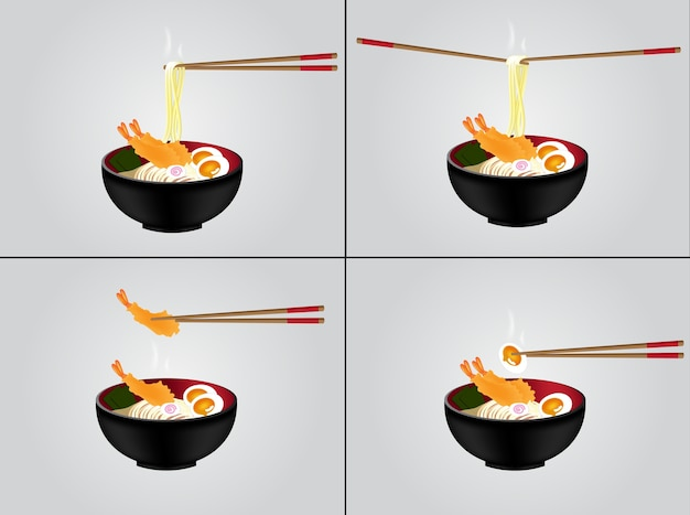 Hot noodle with black bowl testy food background Premium Vector