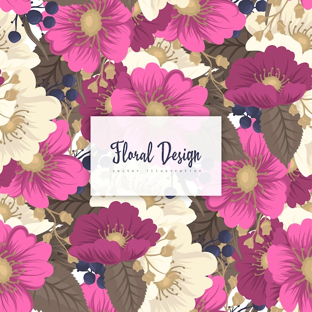 Hot pink flower seamless background Premium Vector