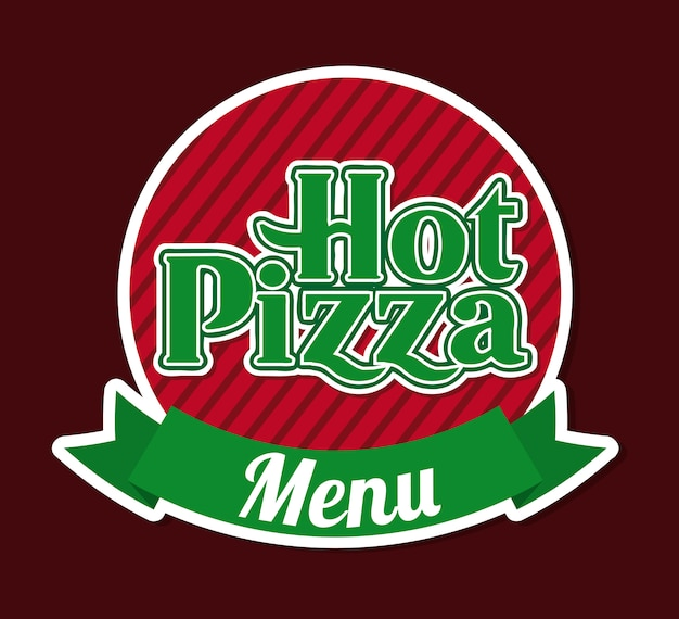Hot pizza over brown background vector illustration Premium Vector