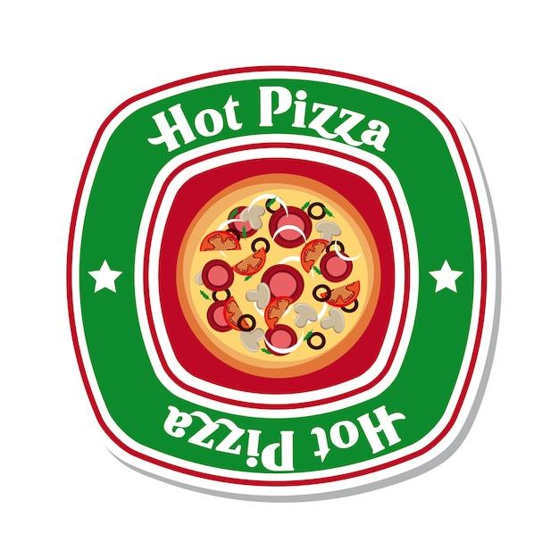 Hot pizza over white background vector illustration Premium Vector