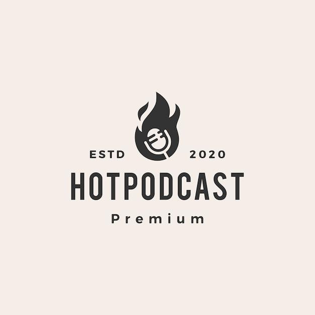 Hot podcast fire hipster vintage logo icon illustration Premium Vector