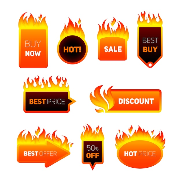 Hot price badges Free Vector