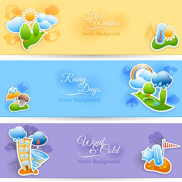 Hot rainy and cold windy days seasonal weather background flat horizontal banners set Free Vector