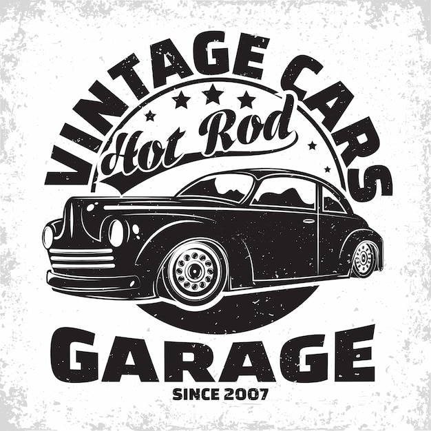 Hot rod garage logo , emblem of muscle car repair and service organisation, retro car garage print stamps, hot rod typography emblem, Premium Vector