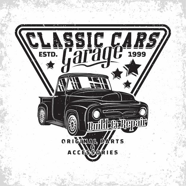 Логотип гаража hot rod, эмблема организации по ремонту и обслуживанию маслкаров, печать марок ретро-автомобилей, эмблема типографии хотрод, Premium векторы