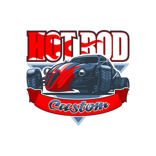 Hot rod logo with a vintage car and custom inscription Premium Vector