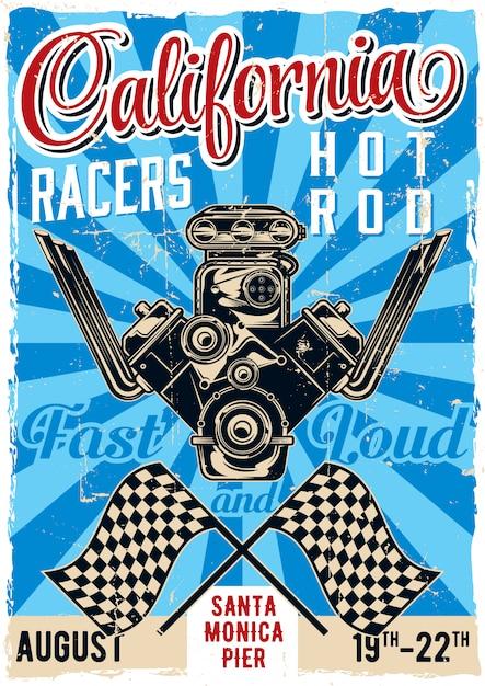Винтажный дизайн плаката на тему хот-род с иллюстрацией мощного двигателя Бесплатные векторы